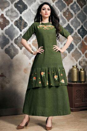 Dark Green Khadi Slub Kurti Online