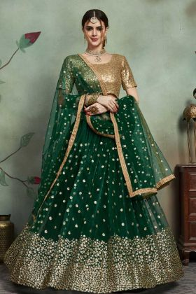 Dark Green Lace Border Festival Lehenga Choli With Soft Net Fabric