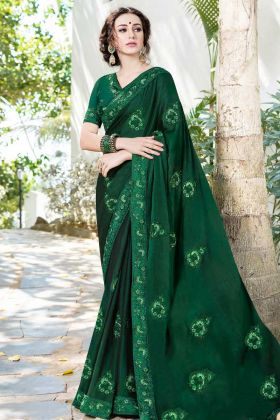 Dark Green Satin Chiffon Festive Saree