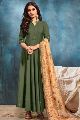 Dark Green Silk Blend Fabric Anarkali Suit With Beige Color Dupatta