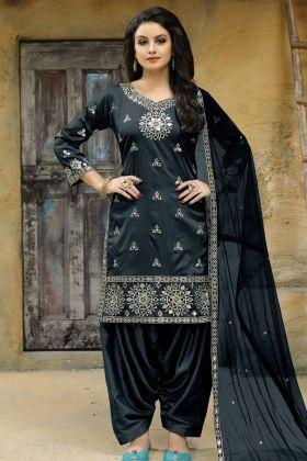 Dark Grey Art Silk Patiala Salwar Suit