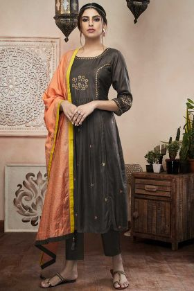 Dark Grey Color Art Silk Pant Style Dress With Resham Embroidery Work