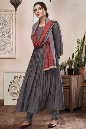 Dark Grey Color Muslin Straight Salwar Suit With Stone Work