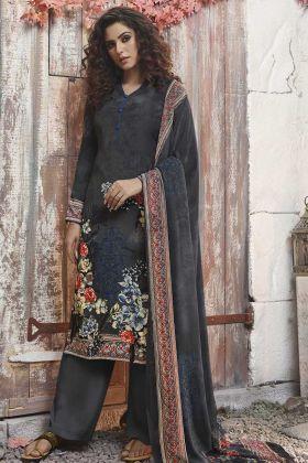 Dark Grey Color Palazzo Salwar Kameez With Georgette Dupatta