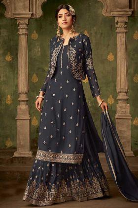 Dark Grey Georgette Jacket Style Sharara Salwar Suit