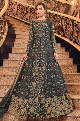 Dark Grey Gown Style Jacket Net Fabric With Art Silk Bottom