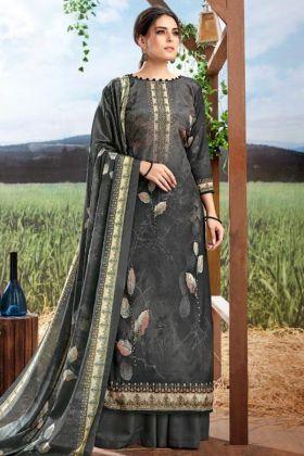 Dark Grey Pure Crepe Silk Palazzo Salwar Suit For Women