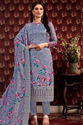 Dark Grey Satin Crepe Printed Straight Salwar Suit