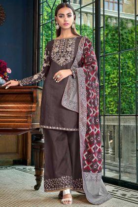 Dark Grey Satin Silk Pakistani Dress With Stone Work