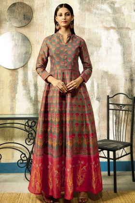 Dark Khaki Pure Chanderi Wedding Gown With Digital Printed Work
