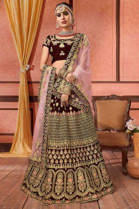 Dark Maroon Color Velvet Bridal Lehenga Choli With Embroidery Work