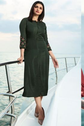 Dark Olive Green Satin Silk Kurti