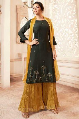 Dark Olive Green Viscose Sharara Salwar Kameez In Hand Work