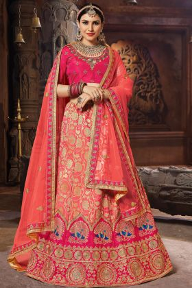 Dark Peach Banarasi Art Silk Lehenga Choli