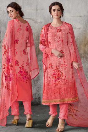 Dark Peach Color Georgette Wedding Salwar Suit
