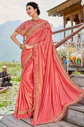 Dark Peach Color Lycra Wedding Ruffle Saree With Coding Embroidery Work