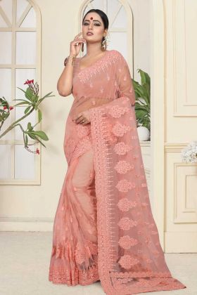 Dark Peach Color Net Festival Saree With Resham Embroidery Work