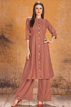 Dark Peach Color Silk Fancy Palazzo Kurti Set With Embroidery Work