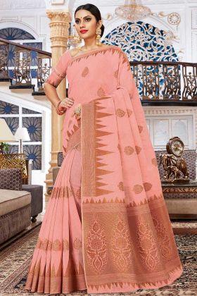 Dark Peach Color Weaving Work Cotton Silk Designer Saree