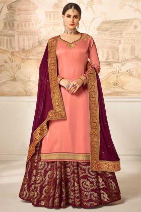 Dark Peach Satin Silk Designer Salwar Kameez Jari Work