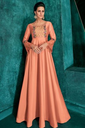 Dark Peach Soft Art Silk Party Wear Gown