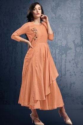 Dark Peach Viscose Silk Stylish Kurti