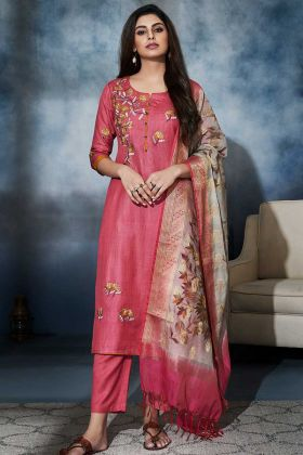 Dark Pink Color Art Silk Pant Style Salwar Suit With Resham Embroidery Work