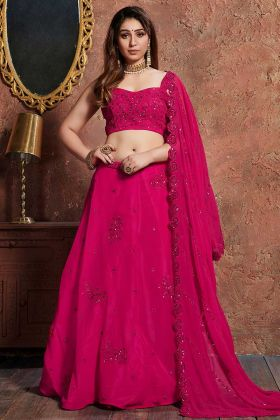 Dark Pink Color Georgette Lehenga Choli With Coding Embroidery Work