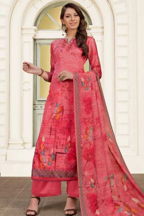 Dark Pink Color Modal Satin Palazzo Salwar Suit With Printed Work