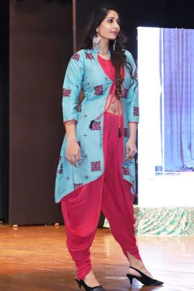 Dark Pink Color rayon party wear kurti with dhoti set