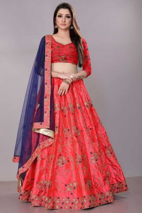 Dark Pink Color Satin Silk Reception Lehenga Choli With Stone Work
