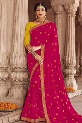 Dark Pink Georgette Bandhani Saree