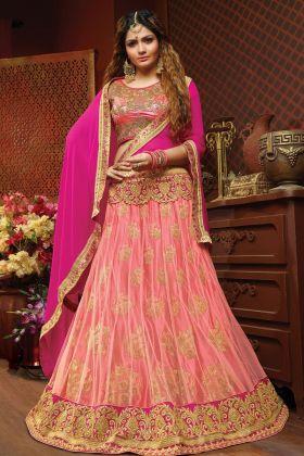 Dark Pink Jacquard Net Festive Lehenga Choli