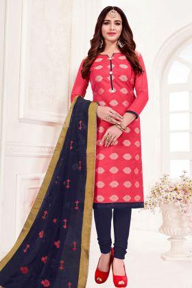 Dark Pink Jacquard Silk Churidar Straight Salwar Kameez