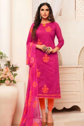 Dark Pink Modal Silk Salwar Suit