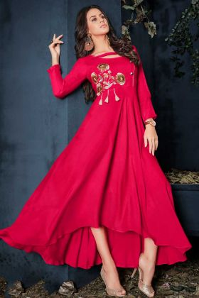 Dark Pink Rayon Party Wear Kurti