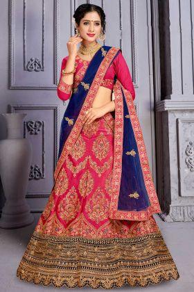 Dark Pink Satin Silk Heavy Wedding Lehenga Choli Online Sale