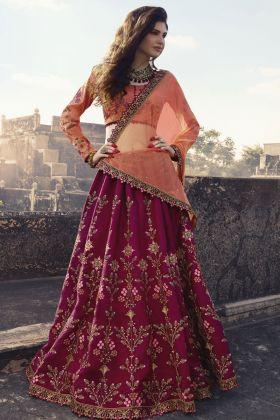 Dark Pink Soft Silk Wedding Lehenga Choli