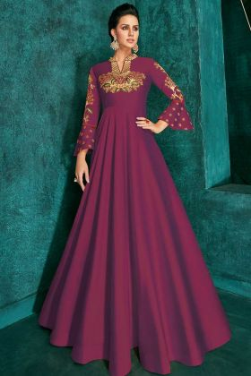 Dark Pink Triva Silk With Heavy Embroidery Long Designer Gown
