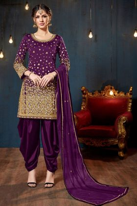 Dark Purple Color Tafeta Silk Patiala Salwar Suit
