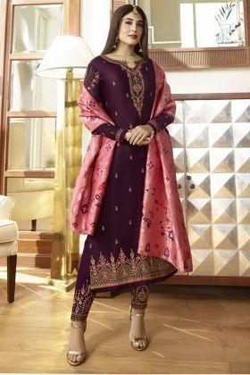 Dark purple Satin Georgette Salwar Suit
