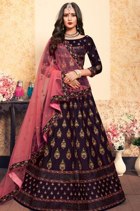 Dark Purple Satin Lehenga Choli Online