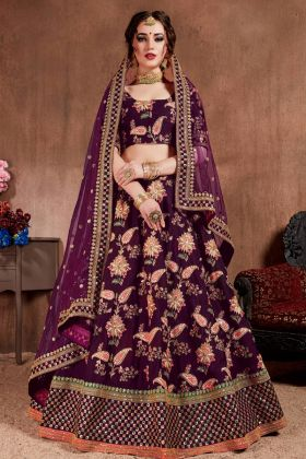 Dark Purple Taffeta Silk Bridal Lehenga Choli