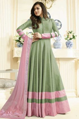 Darshti Dhami Green Partywear Embroidered Art Silk Anarkali Suit