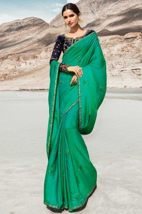 Dazzling Sea Green Barfi Silk New Model Saree