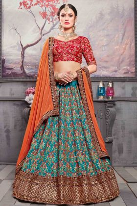 Deep Ocean Blue Banarasi Silk Bridal Lehenga Choli