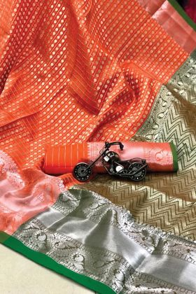 Delightful Pure Silk Weaving Beautiful Saree In Orange Color