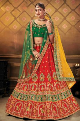 Delightfully Heavy Designer Malai Satin Bridal Red Color Lehenga Collection