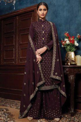 Delighting Wine Color Chiffon Party Wear Heavy Salwar Suit