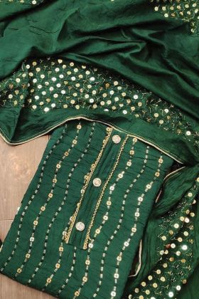 Demanding Dark Green Semi Modal Party Wear Dress Material